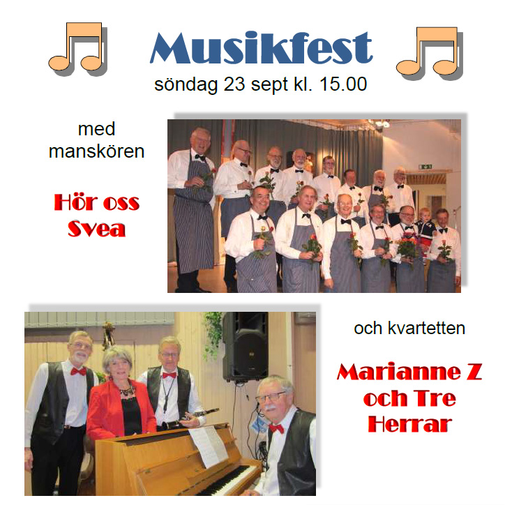 Musikfest med manskören Hör oss Svea och kvartetten Marianne Z och Tre Herrar
