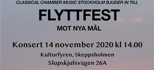 Classical Chamber Music Stockholm bjuder in till Flyttfest - inställt